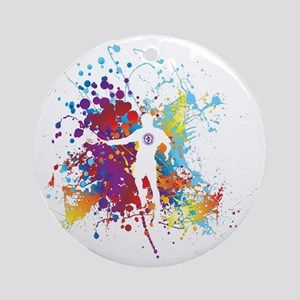 Color Splash Tennis Tshirt Round Ornament