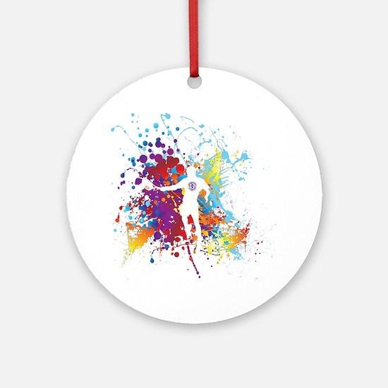 Color Splash Tennis Tshirt Round Ornament