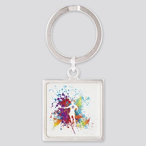Color Splash Tennis Tshirt Square Keychain