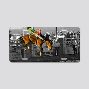 Rodeo Cowboy In Green Aluminum License Plate