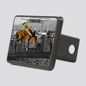 Rodeo Cowboy In Green Rectangular Hitch Cover
