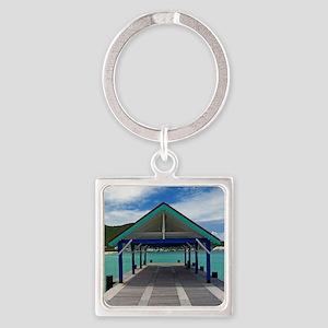 St. Maarten Pier Square Keychain