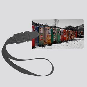 Many Vintage Gas Pumps Standing  Large Luggage Tag
