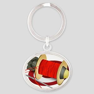 Threadbomb small Oval Keychain