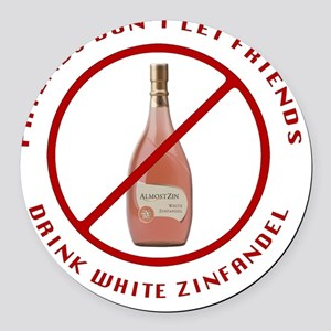 No White Zin Round Car Magnet
