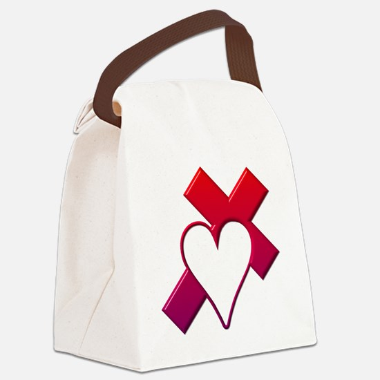 Red cross with  heart Canvas Lunch Bag