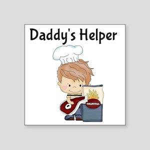 "Daddys Helper BBQ Square Sticker 3"" x 3"""