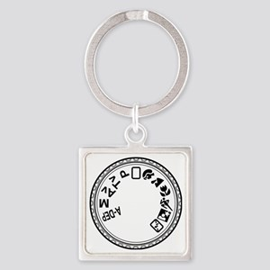 Mode Dial (black) Square Keychain