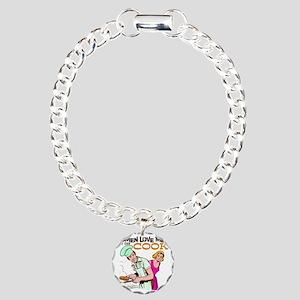 Women Love Men BBQ Charm Bracelet, One Charm