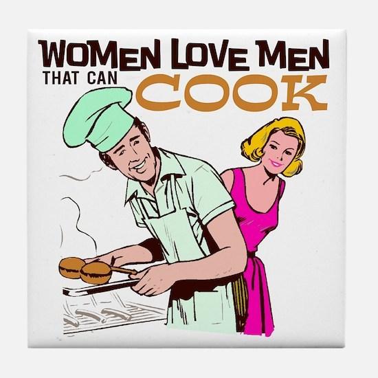 Women Love Men BBQ Tile Coaster