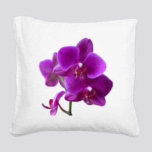 Striking Purple Orchid Flower Square Canvas Pillow