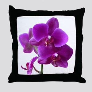 Striking Purple Orchid Flower Throw Pillow