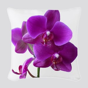 Striking Purple Orchid Flower Woven Throw Pillow