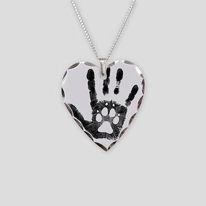 Lobo Paw Print Necklace Heart Charm