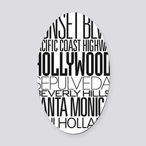 I Love LA Oval Car Magnet