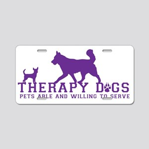 Therapy dogs purple Aluminum License Plate