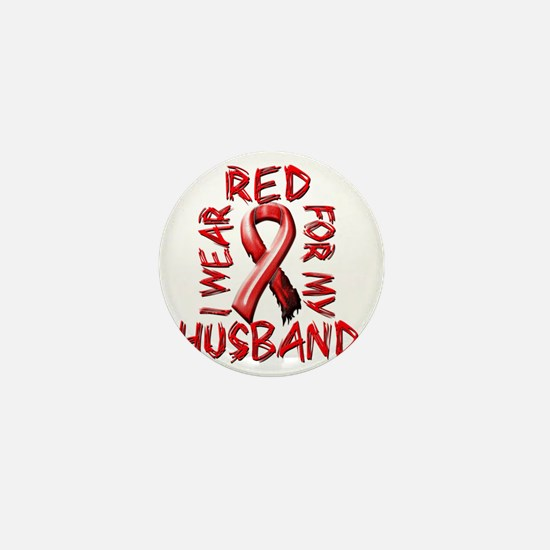 I Wear Red for my Husband Mini Button