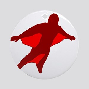 Wingsuit Silhouette 2 Red Round Ornament