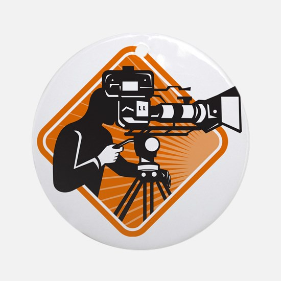 film crew cameraman shooting filmin Round Ornament