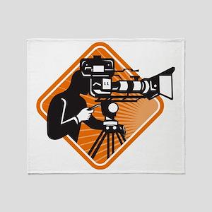 film crew cameraman shooting filming Throw Blanket
