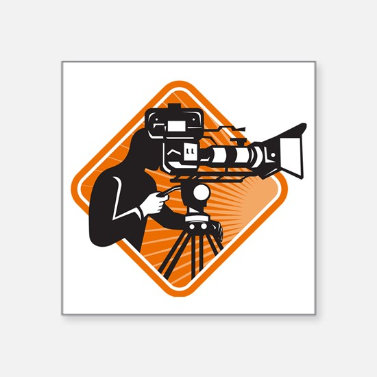 "film crew cameraman shootin Square Sticker 3"" x 3"""