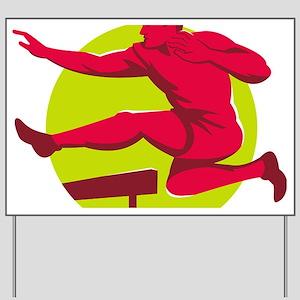 Athlete Jumping Hurdles Yard Sign