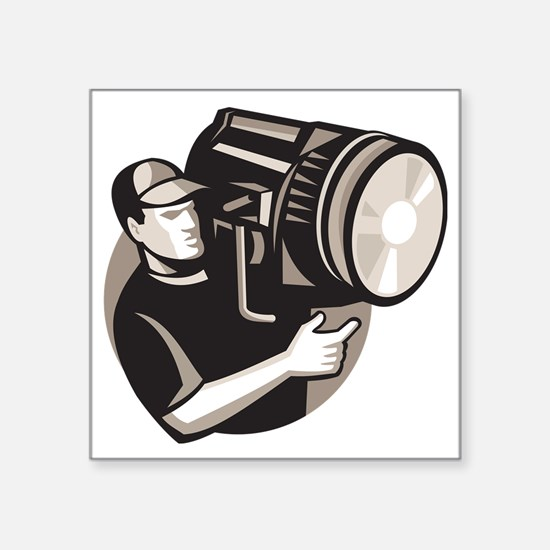 "film crew with spotlight fr Square Sticker 3"" x 3"""