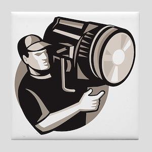 film crew with spotlight fresnel ligh Tile Coaster