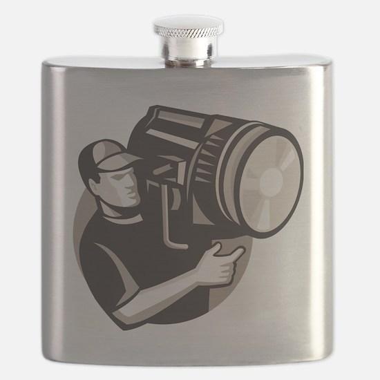 film crew with spotlight fresnel light Flask