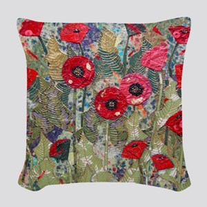 Poppy Fields Woven Throw Pillow