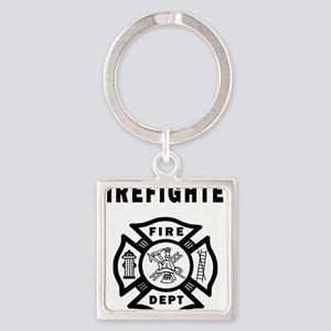 Firefighter Fire Dept Square Keychain