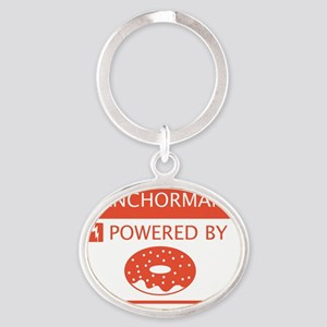 Anchorman Powered by Doughnuts Oval Keychain