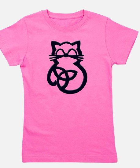Black Trinity Knot Celtic Cat T-Shirt