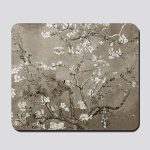 Almond Branches Sepia Mousepad