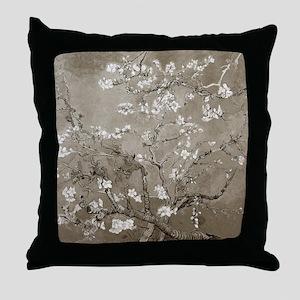 Almond Branches Sepia Throw Pillow