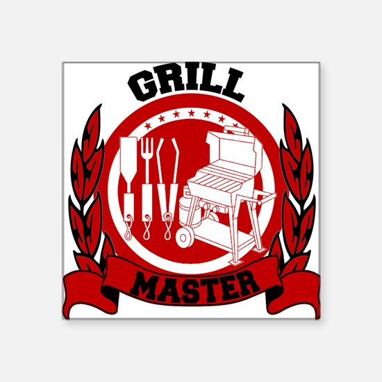 "BBQ Grill Master Square Sticker 3"" x 3"""