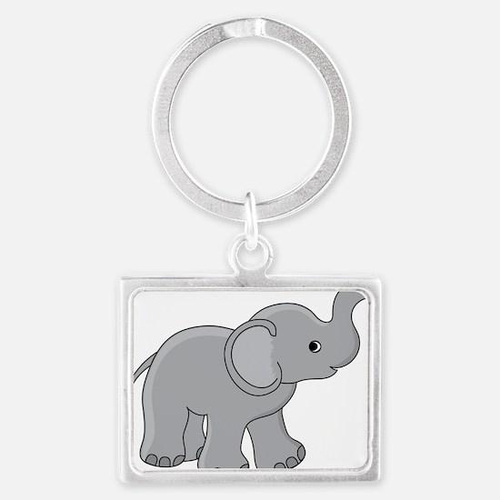 Cartoon Baby Elephant Landscape Keychain