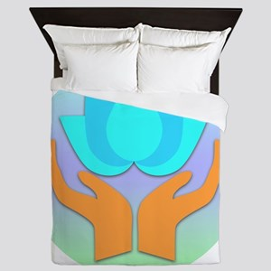 Lotus Flower - Healing Hands Queen Duvet