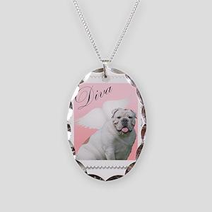 diva bulldog angel Necklace Oval Charm