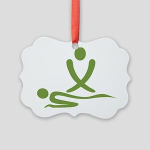 Green massage design Picture Ornament