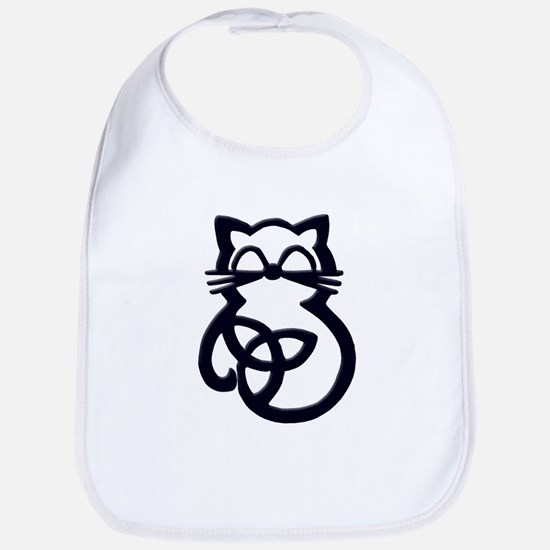 Black Trinity Knot Celtic Cat Baby Bib