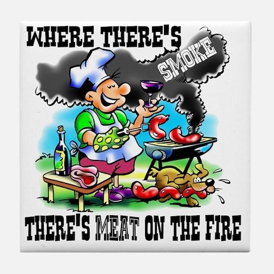 Where Theres Smoke BBQ Tile Coaster
