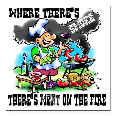 """Where Theres Smoke BBQ Square Car Magnet 3"""" x 3"""""""