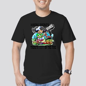 Where Theres Smoke BBQ Men's Fitted T-Shirt (dark)