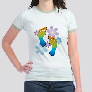 Rainbow Footprints with 70s Flo Jr. Ringer T-Shirt