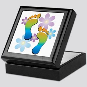 Rainbow Footprints with 70s Flowers Keepsake Box