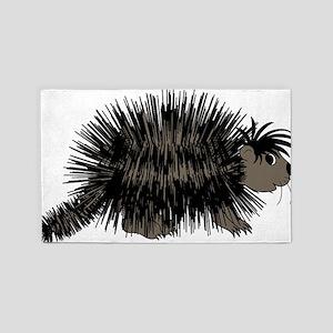 Cartoon Porcupine Graphic 3'x5' Area Rug