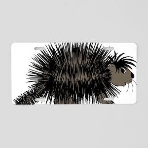 Cartoon Porcupine Graphic Aluminum License Plate