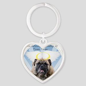 Bulldog angel Heart Keychain
