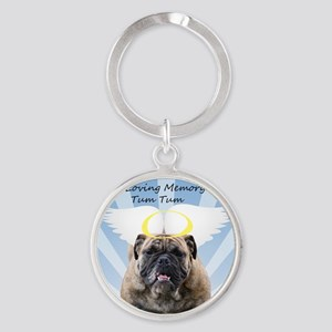 Bulldog angel Round Keychain